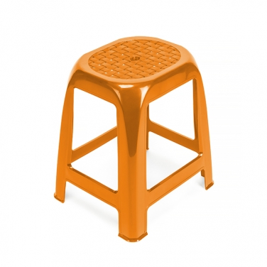 ORANGE STACKABLE PLASTIC STOOL WITHOUT BACK