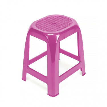 PINK STACKABLE PLASTIC STOOL WITHOUT BACK