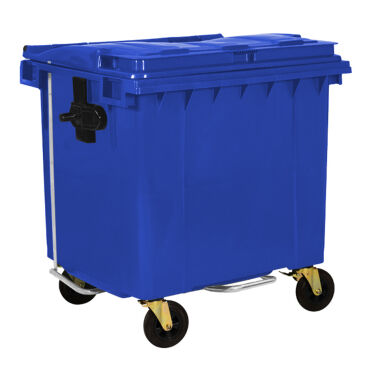 1100L BLUE PLASTIC WASTE CONTAINER WITH FOOT PEDAL