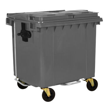 1100L GREY PLASTIC WASTE CONTAINER WITH FOOT PEDAL