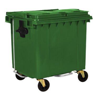 1100L GREEN PLASTIC WASTE CONTAINER WITH FOOT PEDAL